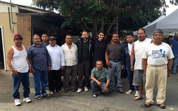 Enrique with the staff at Chino Farms, California, October 2015