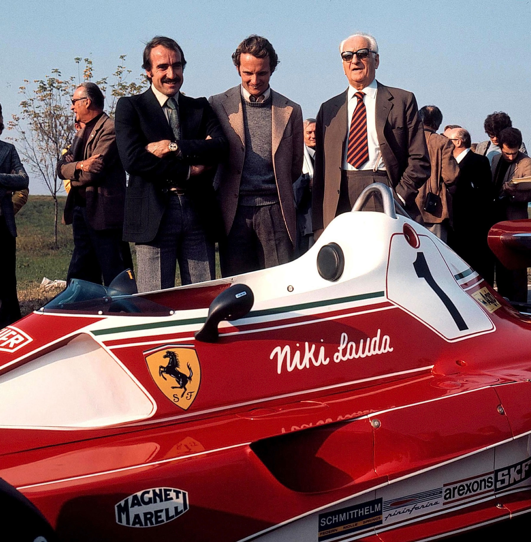 Clay Regazzoni (left) and Niki Lauda (centre) were teammates at Ferrari in the 1970s. With them is a very relaxed Enzo Ferrari at the launch of the 312T, Maranello, 1976. As reproduced in Ferrari: Under the Skin