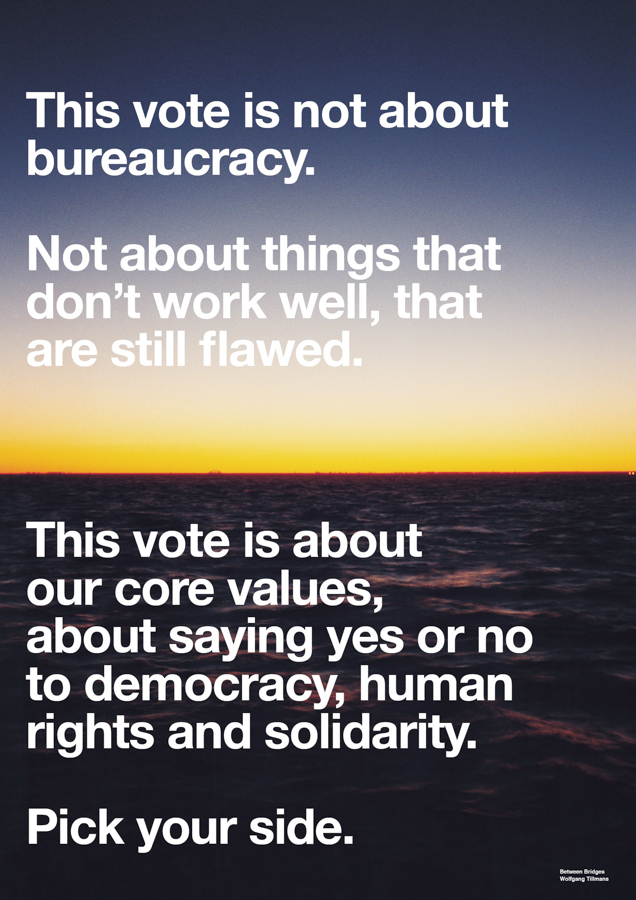 A poster from Wolfgang Tillmans' pro-EU campaign