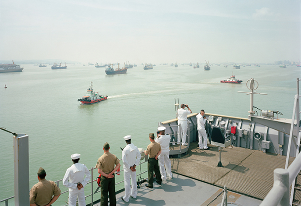 Manning the Rail, USS Tortuga,  Java Sea, 2010 by An-My Lê. From Events Ashore