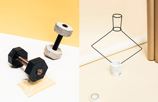 Works from Fabrica's Extra-Ordinary Gallery. From left: Hercule, a luxury dumbell-cum-paper weight by Charlotte Juillard; Chloris, A geometric wireframe sculpture, which functions as a flower vase, by Ryu Yamamoto
