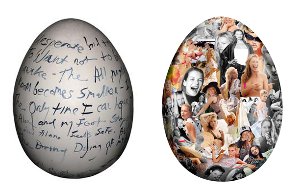 From right: Tracey Emin and Bruce Weber's contributions to the Big Egg Hunt