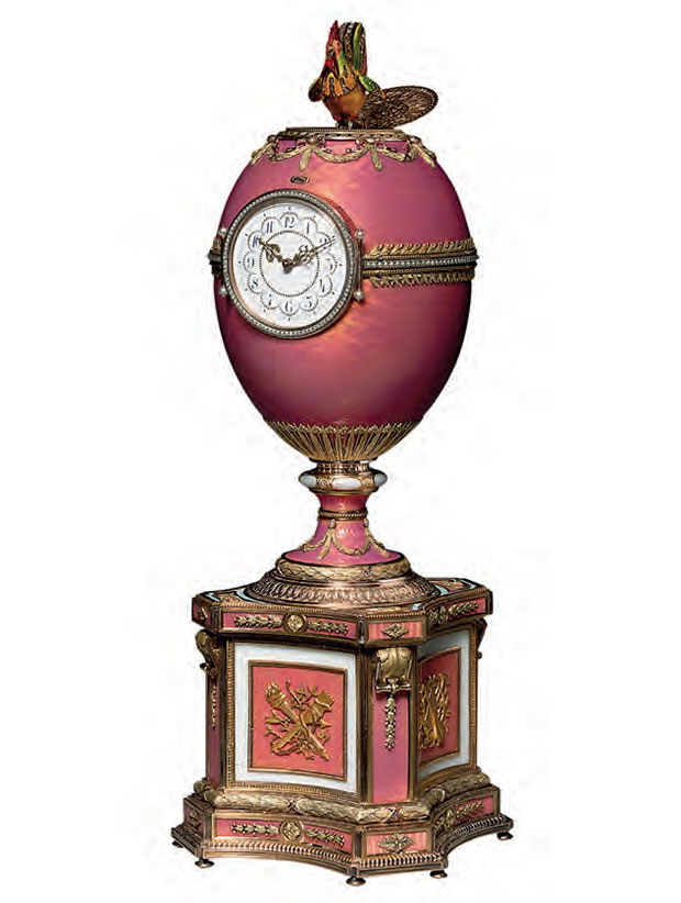 Carl Fabergé (1846–1920), Rothschild Fabergé Egg, 1902, jewelled vari-coloured gold-mounted and enamelled egg on plinth, incorporating a clock and an automaton, 27 cm (101/2 in) tall SALE 28 November 2007, London ESTIMATE £6m–9m/$12.4m–18.6m SOLD £8,980,500/$18,573,940