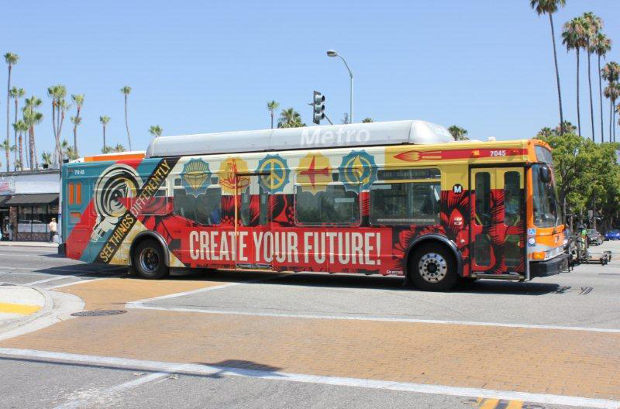 Shepard Fairey's Create Your Future bus wrap for LA Fund's ArtsMatter