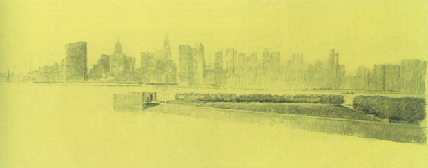One of Khan's sketches for Four Freedoms Park