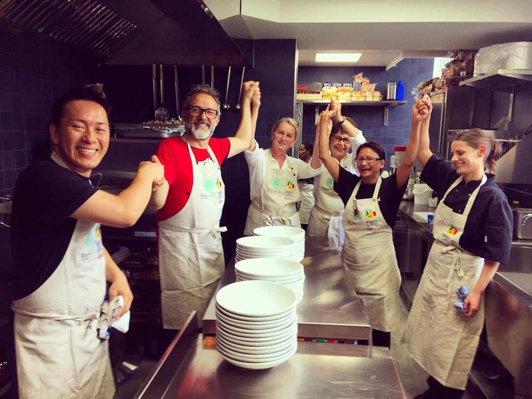Massimo Bottura and his London volunteers at Refettorio Felix. Image courtesy of Food is Soul's Instagram account