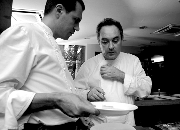 Ferran Adrià watches over his kitchen intently as his team prepare technically complex dishes