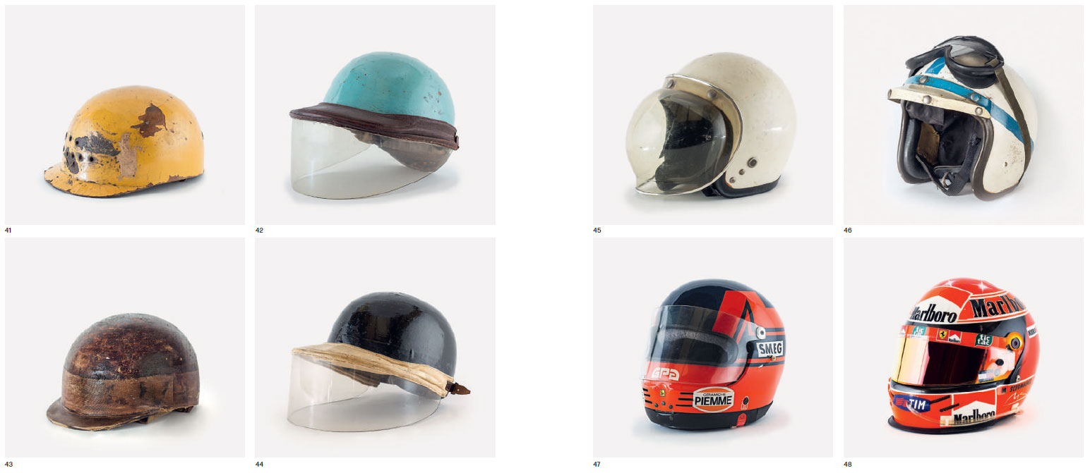 Clockwise from top left: José Froilán González's helmet; Alberto Ascari's helmet; Phil Hill's helmet; John Surtees' helmet; Michael Schumacher's helmet; Gilles Villeneuve's helmet; Mike Hawthorn's helmet; Juan Manuel Fangio's helmet. As reproduced in Ferrari Under the Skin