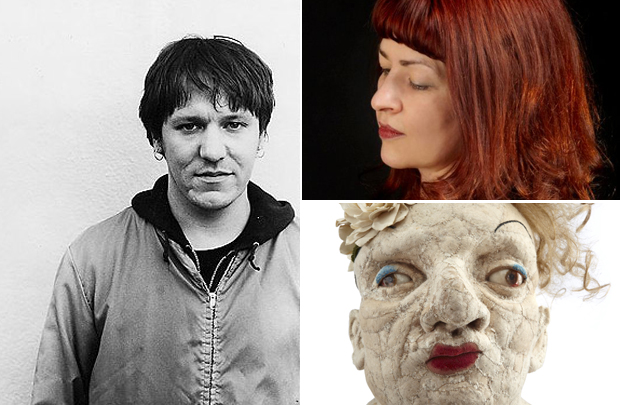 Artist Michele Howarth Rashman (top right) her sculpture 'He Calls Himself Margaret' (bottom right) and the musician Elliott Smith (left) who features on her playlist this week