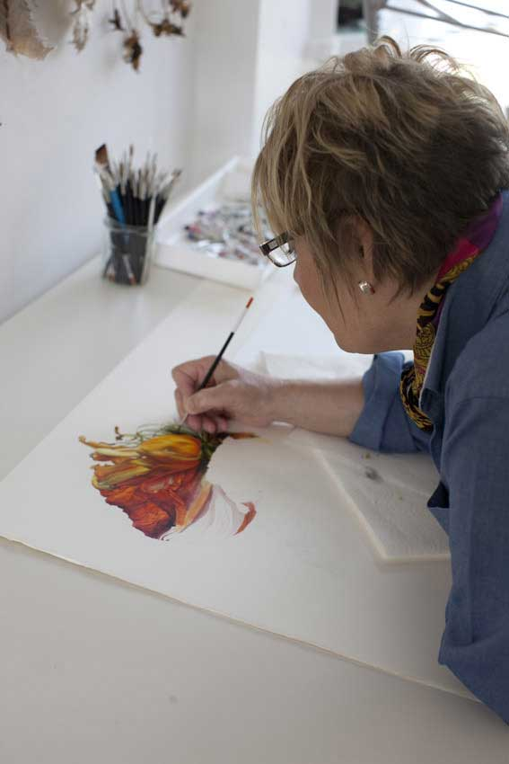 Fiona Strickland at work, photographed by Marion Nickig