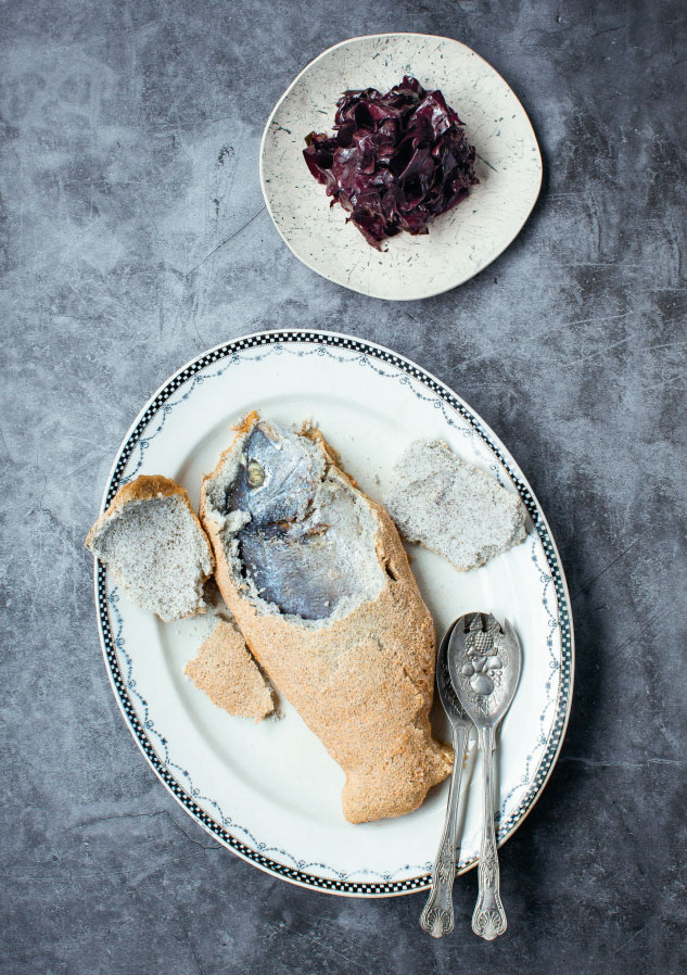 Sea bream in a dillisk salt crust. All food images from The Irish Cookbook