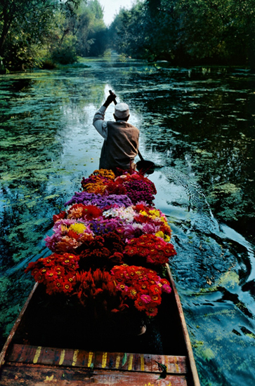 Steve McCurry, Flower seller (1996), Dal Lake, Srinagar, Kashmir