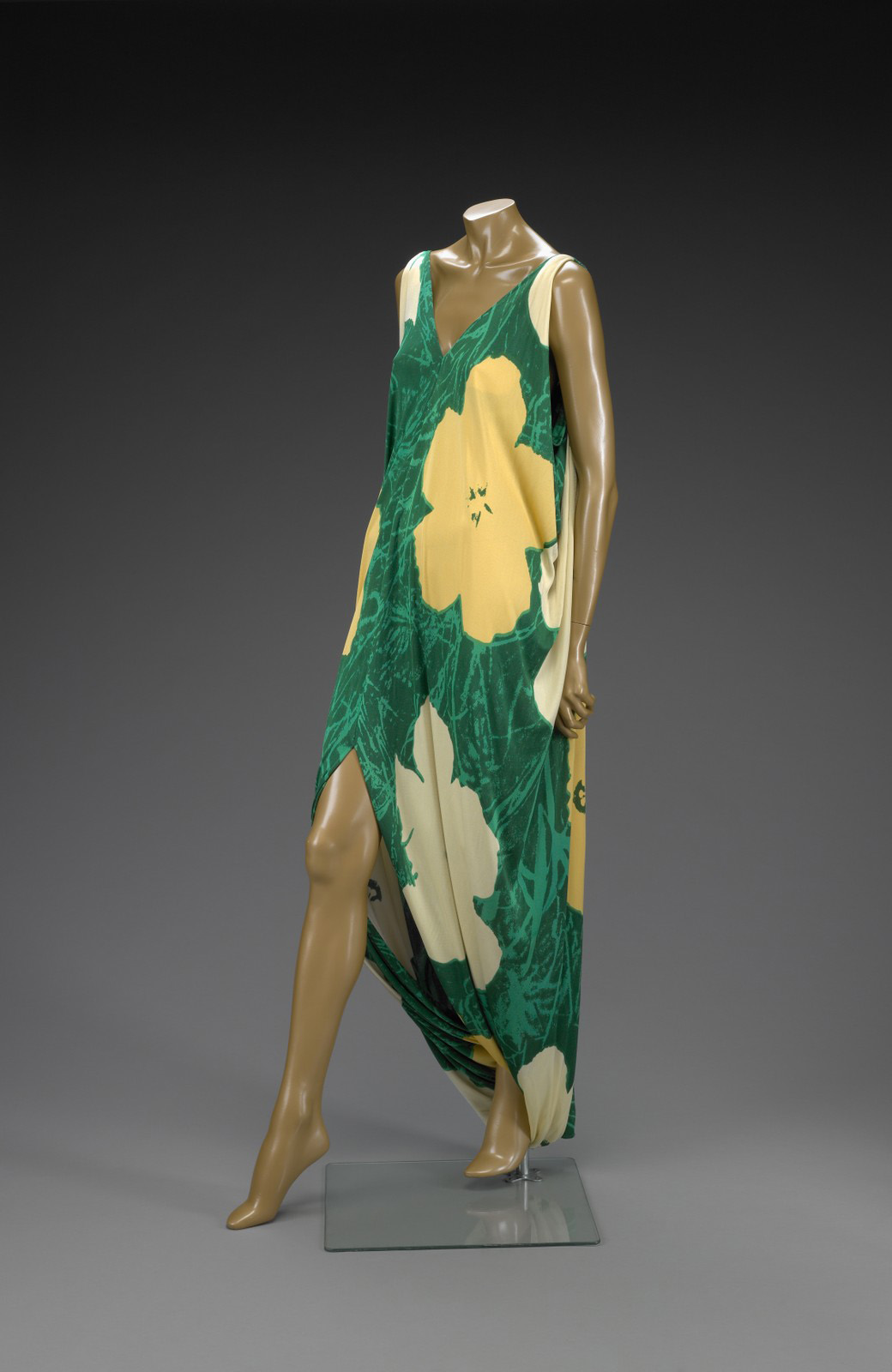 Halston silk dress, 1972, based on Warhol's flowers paintings, 1964