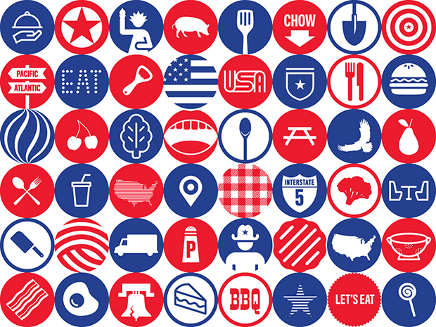 48 of the 160 circular pictograms that make up Pentagram's designs for the USA Pavilion's Food Truck Nation