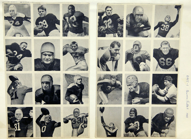 Sheet of twelve uncut football cards, from the Bowman Football series (R407-1) issued by Bowman Gum, 1948. From The Met's Gridiron Greats show