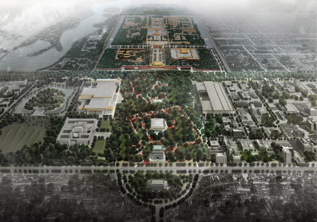Tiananmen Square rendering from MAD Architects' Beijing 2050 proposal.