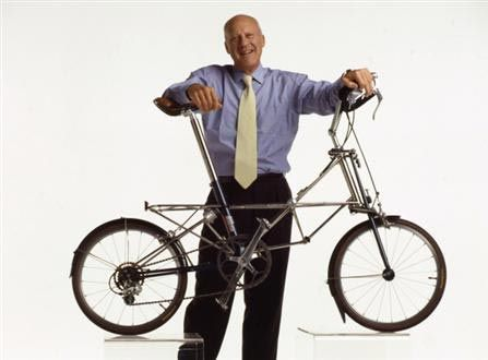 Lord Foster with his Moulton bicycle