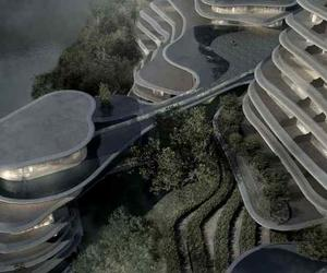 MAD create new contoured village by a Chinese lake