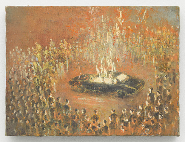 Francis Alÿs Linchados, 2010 Oil on canvas on wood 7 1/8 x 5 3/8 inches (18 x 13.5 cm) Courtesy David Zwirner, New York/London