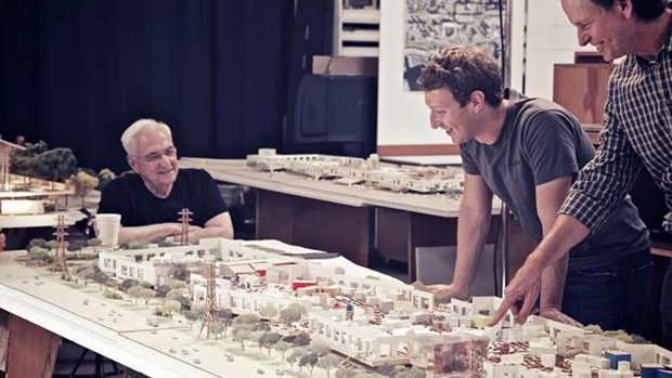 Architect Frank Gehry and Facebook founder Mark Zuckerberg