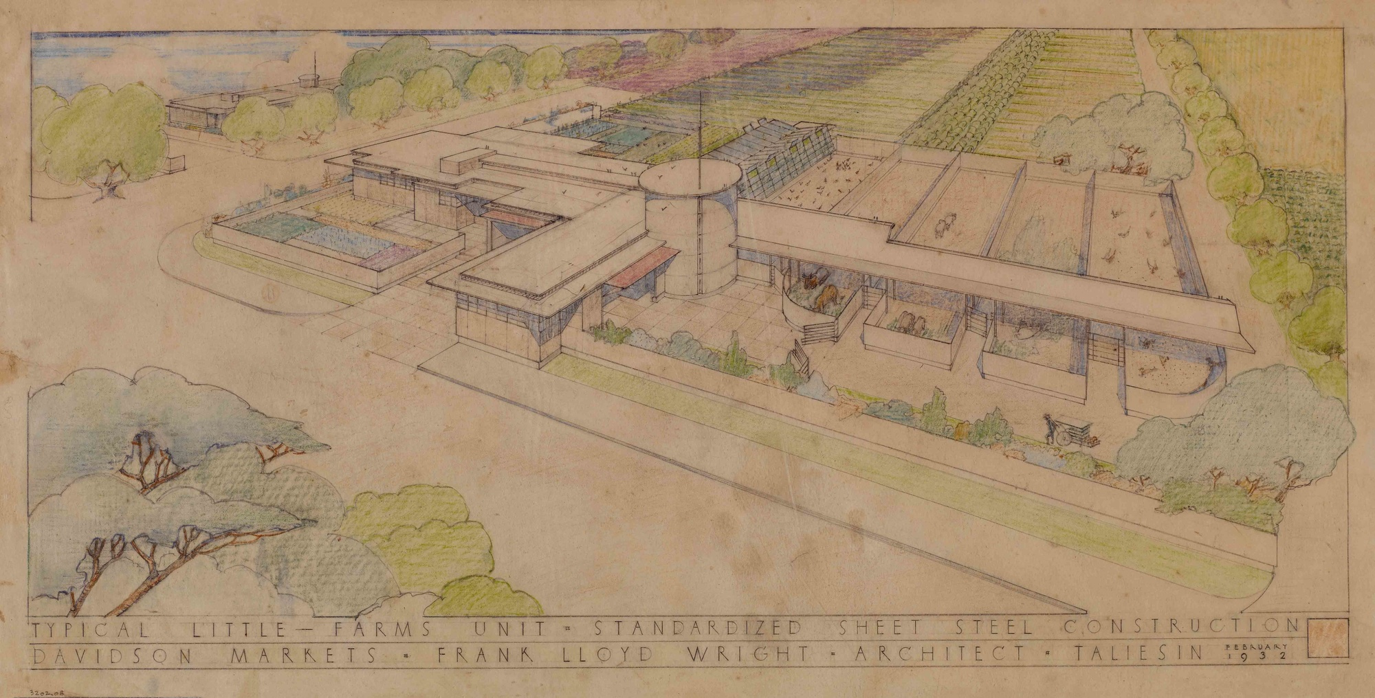 A 1932 illustration of Davidson Little Farms Unit by Frank Lloyd Wright. Image courtesy of MoMA