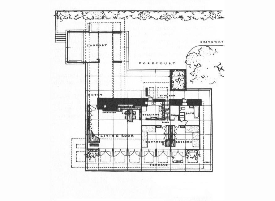 Frank lloyd wright 39 s 3m starter home architecture Frank lloyd wright house floor plans