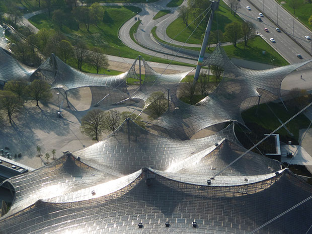 Frei Otto roofing for main sports facilities in the Munich Olympic Park (1968-72)