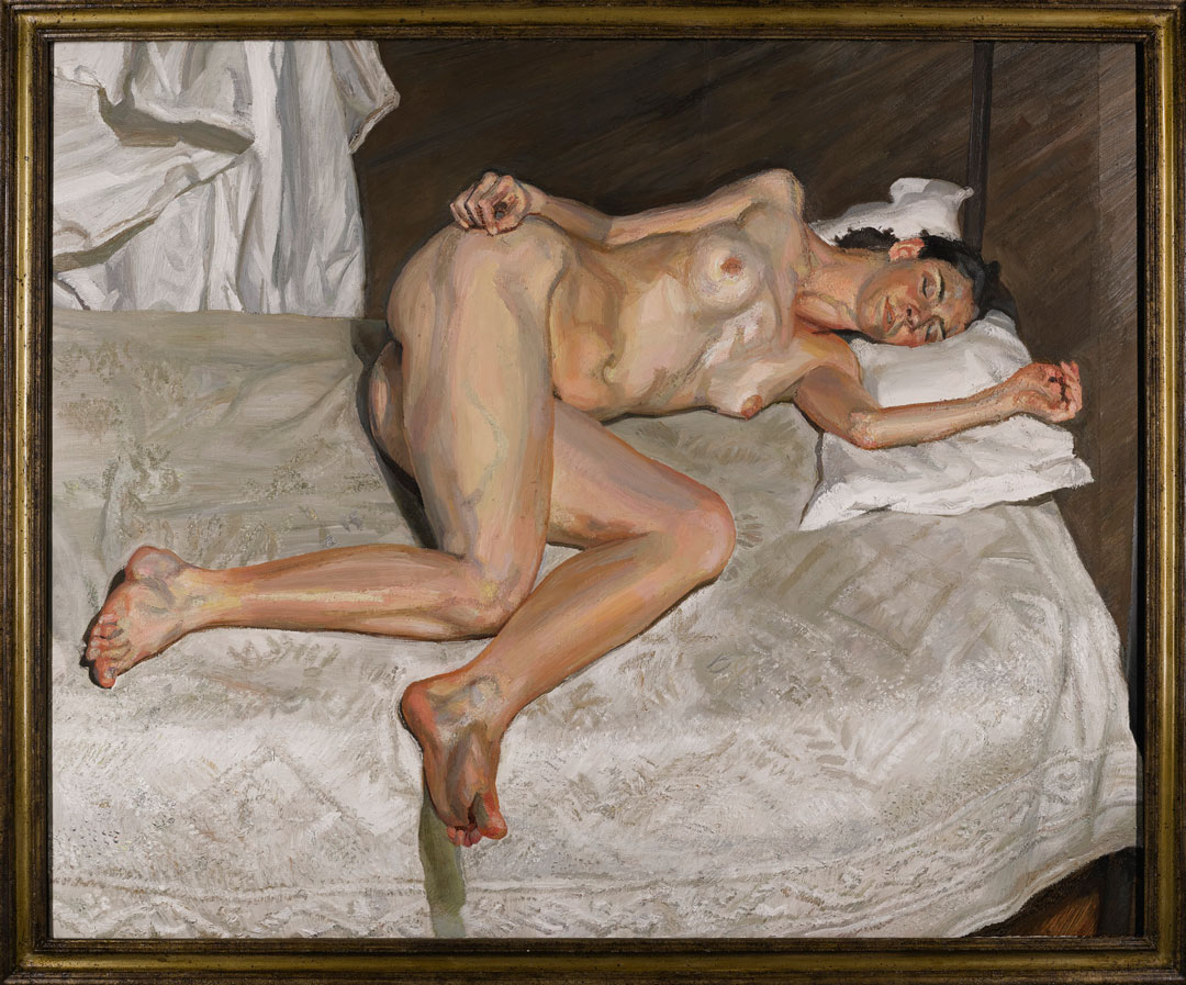 Portrait on a White Cover (2002-3) by Lucian Freud