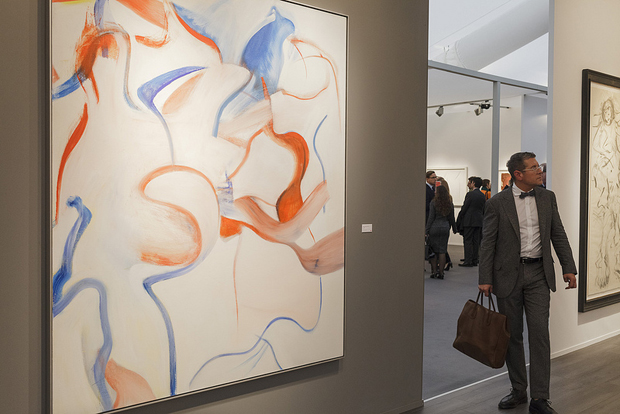 Mnuchin Gallery's stand (B6) at Frieze Masters, featuring a late Willem de Kooning painting