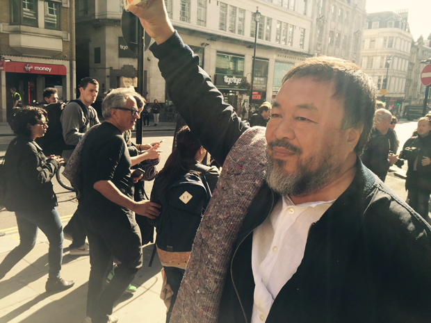 Ai Weiwei (foreground) and Anish Kapoor staging their pro-refugee march, London September 17 2015- photo Mat Smith