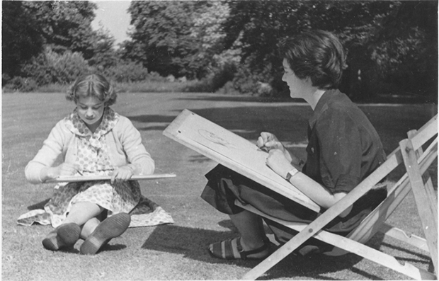 Gaby Goldscheider (left) with Lucy Rothenstein, her fellow student at the Ruskin School of Art, c.1950s