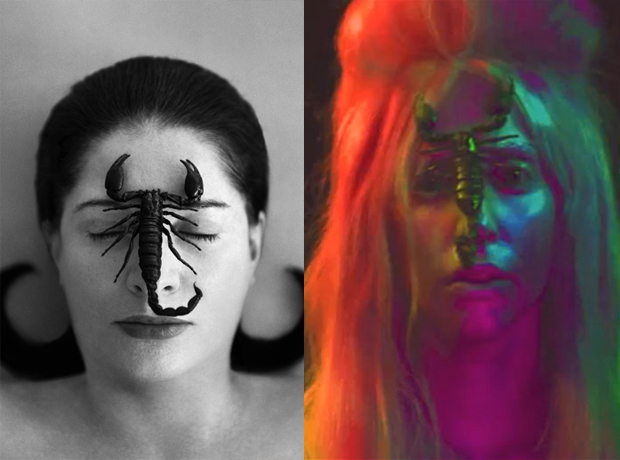 From left: Marina Abramović, Portrait with Scorpion (Closed Eyes) (2005) and Lady Gaga's Venus artwork (2013)