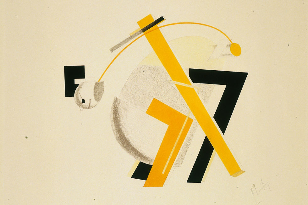 El Lissitzky, Old Man, His Head Two Paces Behind from The Three-Dimensional Design of the Electro-Mechanical Show 'Victory over the Sun', 1923, lithograph on paper. Van Abbemuseum, Eindhoven.