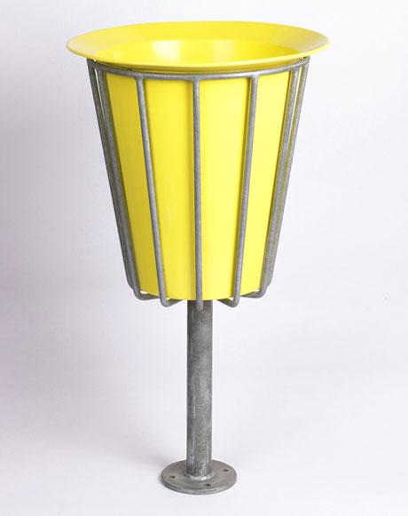 Galvanised steel litter bin, 1957