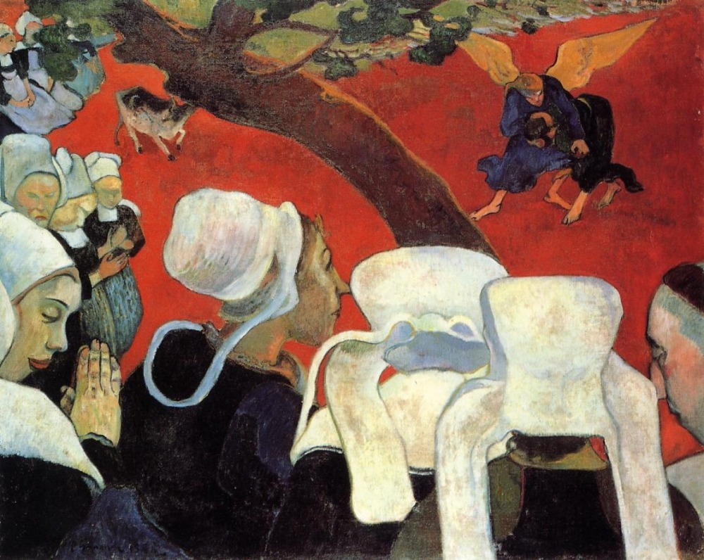Vision of the Sermon (Jacob Wrestling with the Angel), 1888 by Paul Gauguin. As reproduced in Art in Time
