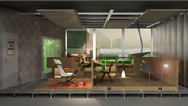 A rendering of Room One, Life Space, by Konstantin Grcic
