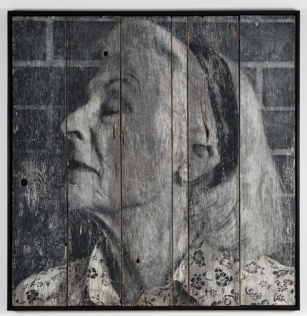 The Wrinkles of the City, Los Angeles, Jean, transfer on wood, 2011©JR-­?ART.NET, Courtesy Galerie Perrotin