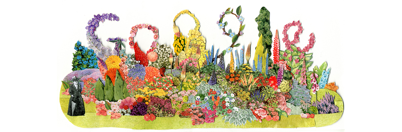 The Google Doodle marking Gertrude Jekyll's 174th birthday. Image courtesy of Google