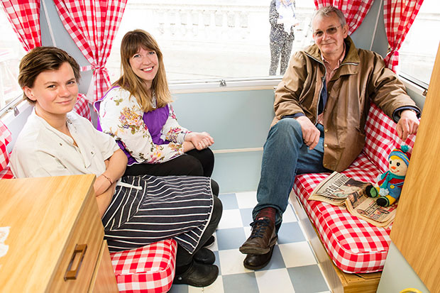 Martin Parr, daughter Ellen and her Art of Dining business partner Alice Hodge  in the Real Food caravan at Photo London May 18, 2016 photo Getty Images