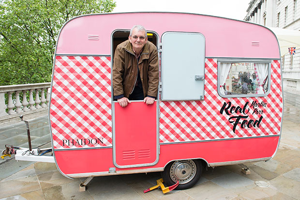Martin Parr in the Real Food caravan at Photo London May 18, 2016 photo Getty Images