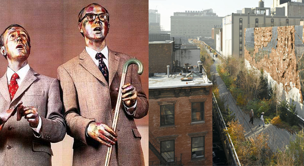 Gilbert and George, as signing sculptures (left) and El Anatsui's Broken Bridge II, (2012) beside the High Line