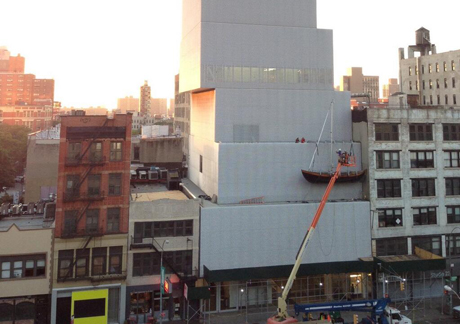 Chris Burden's Ghost Ship (2005) mounted on the outside of the New Museum's building. Image courtesy of the New Museum