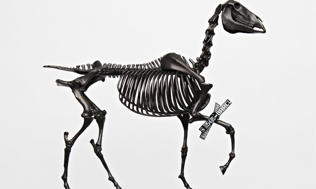 Hans Haacke, Gift Horse (2013); bronze and electroluminescent film (model)