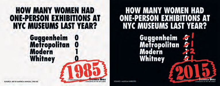 How Many Women Artists had One-Person Exhibitions in NYC Art Museums Last Year?, 1985/2015. As reproduced in Co-Art