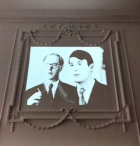 Gilbert & George's A Portrait of the Artist as a Young Man (1970) projected on to the wall of Galarie Thaddaeus Ropac's new London space.  Galerie Thaddaeus Ropacs Instagram