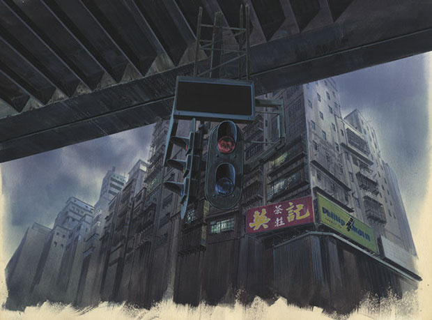 Background for Ghost in the Shell (1995), Shot No. 335 Gouache on paper, cut out, acrylic on transparent folio 280 x 380 mm Illustrator: Hiromasa Ogura © 1995 Shirow Masamune / Kodansha ? Bandai Visual ? Manga Entertainment Ltd. Image courtesy of the Museum for Archiectural Museum