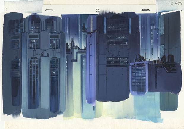 Background for Ghost in the Shell (1995), cut 477 Gouache on paper and acrylic on transparent film, 270 × 390 mm Illustrator: Hiromasa Ogura © 1995 Shirow Masamune / KODANSHA · BANDAI VISUAL · MANGA ENTERTAINMENT Ltd. Image courtesy of the Museum for Architectural Drawing
