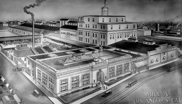 Archival drawing of Globe Grain and Milling Company complex. Courtesy Los Angeles Public Library Photo Collection