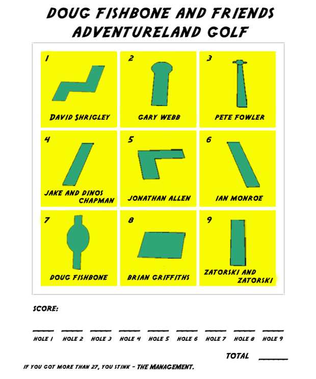 score card from Doug Fishbone and Friends Adventureland Golf (2012)