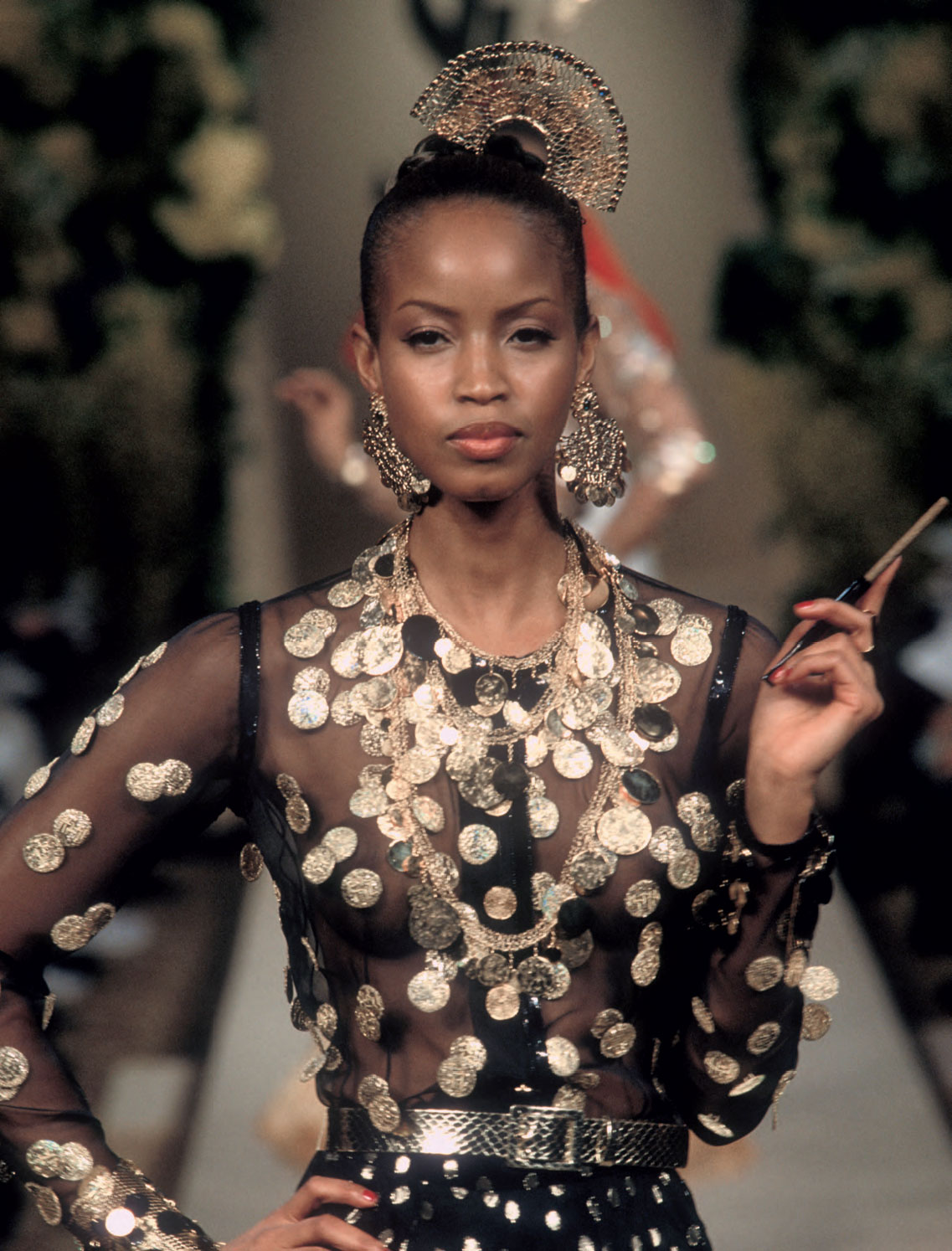 e18104d9fb6 Gypsy-inspired dress with accessories, Spring/Summer 2000 haute couture  collection. The